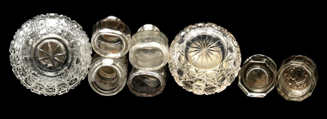 EIGHT STERLING SILVER TOPPED DRESSER JARS - 6