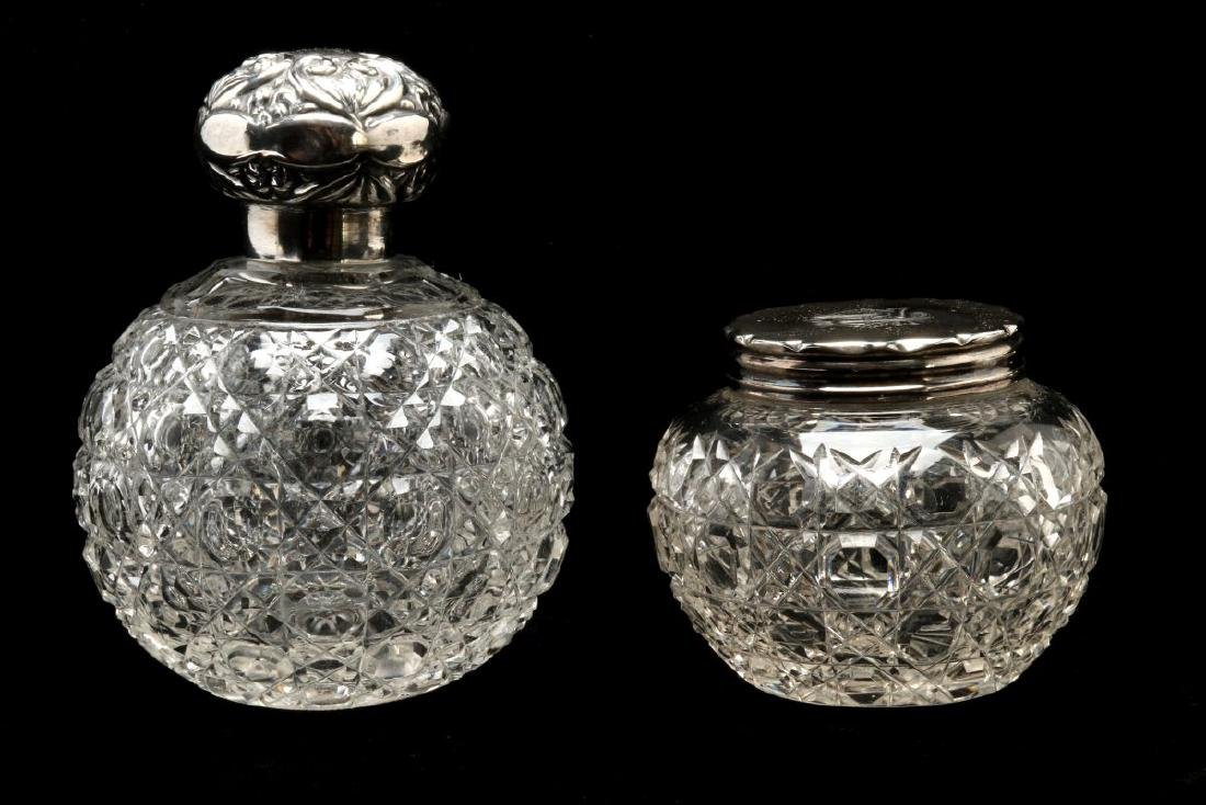 EIGHT STERLING SILVER TOPPED DRESSER JARS - 7