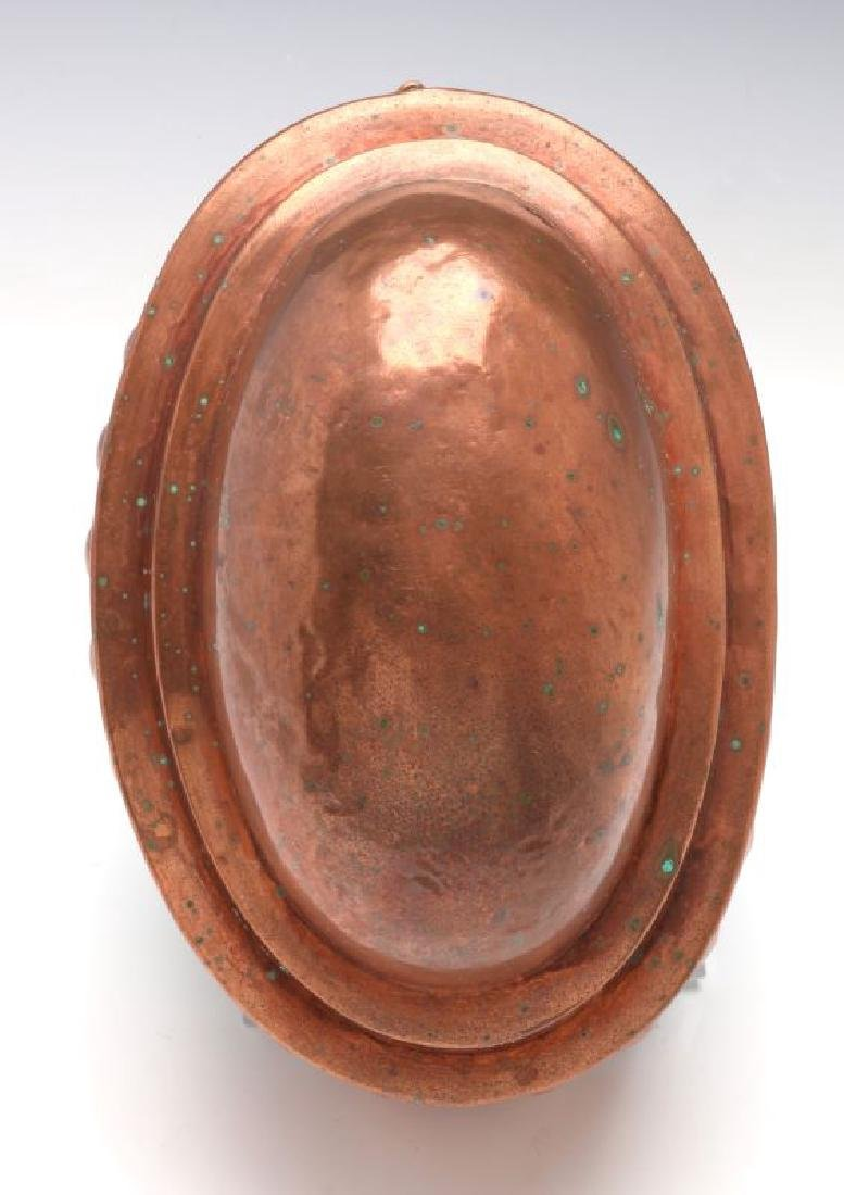 AN OVAL ANTIQUE COPPER FOOD MOLD - 4