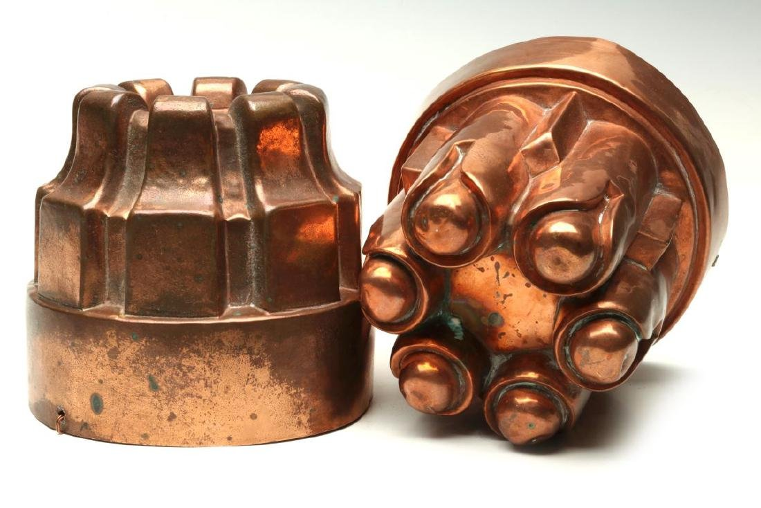 TWO ANTIQUE COPPER JELLY MOLDS