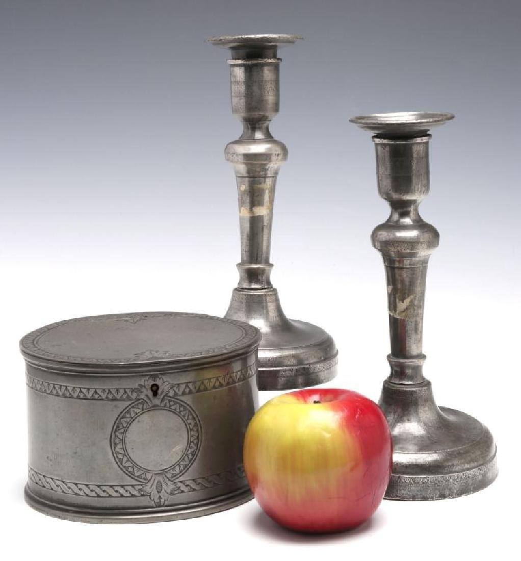 18TH C. . PEWTER CANDLE STICKS GROUPED WITH A TEA CADDY - 2