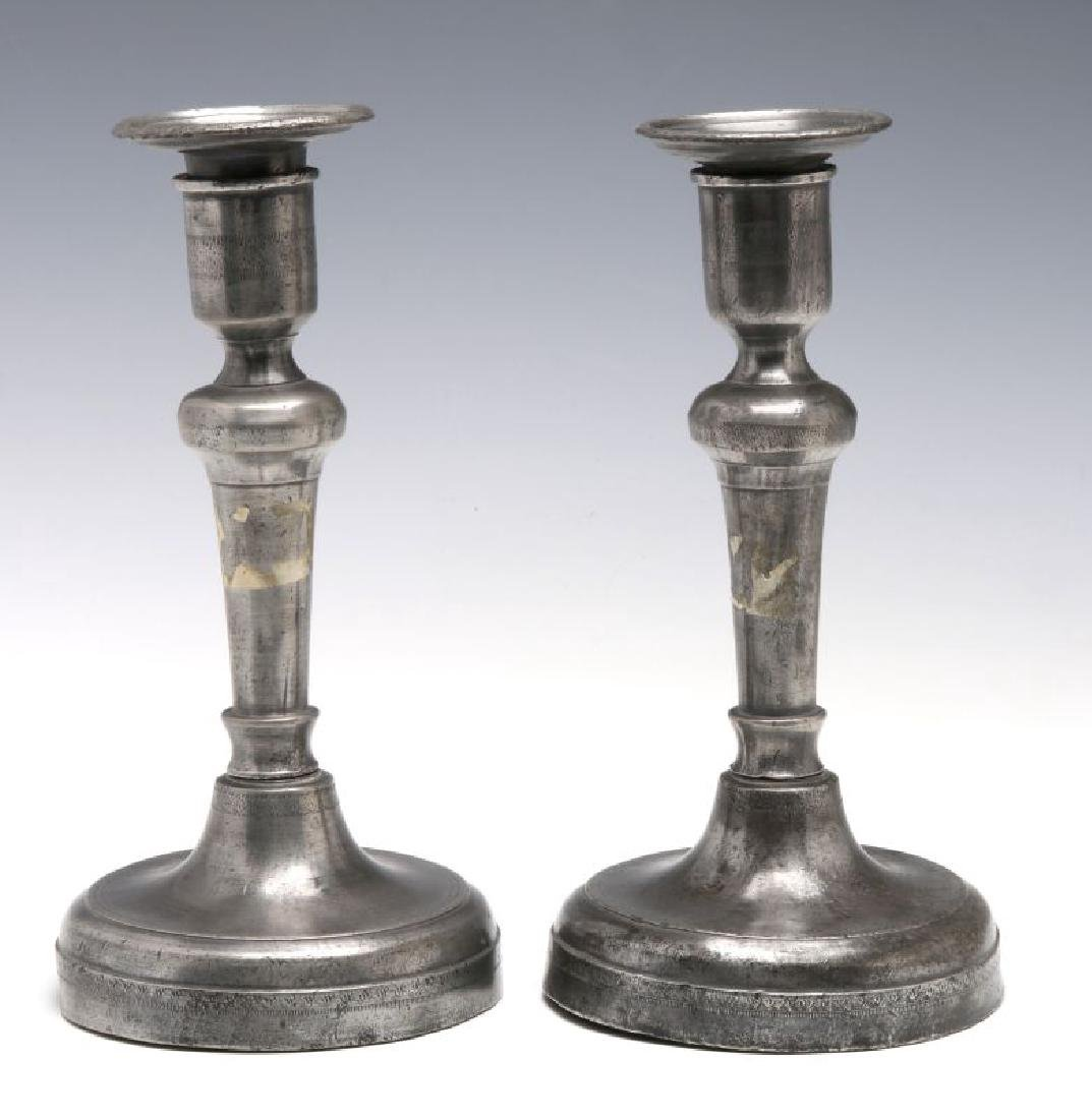 18TH C. . PEWTER CANDLE STICKS GROUPED WITH A TEA CADDY - 3