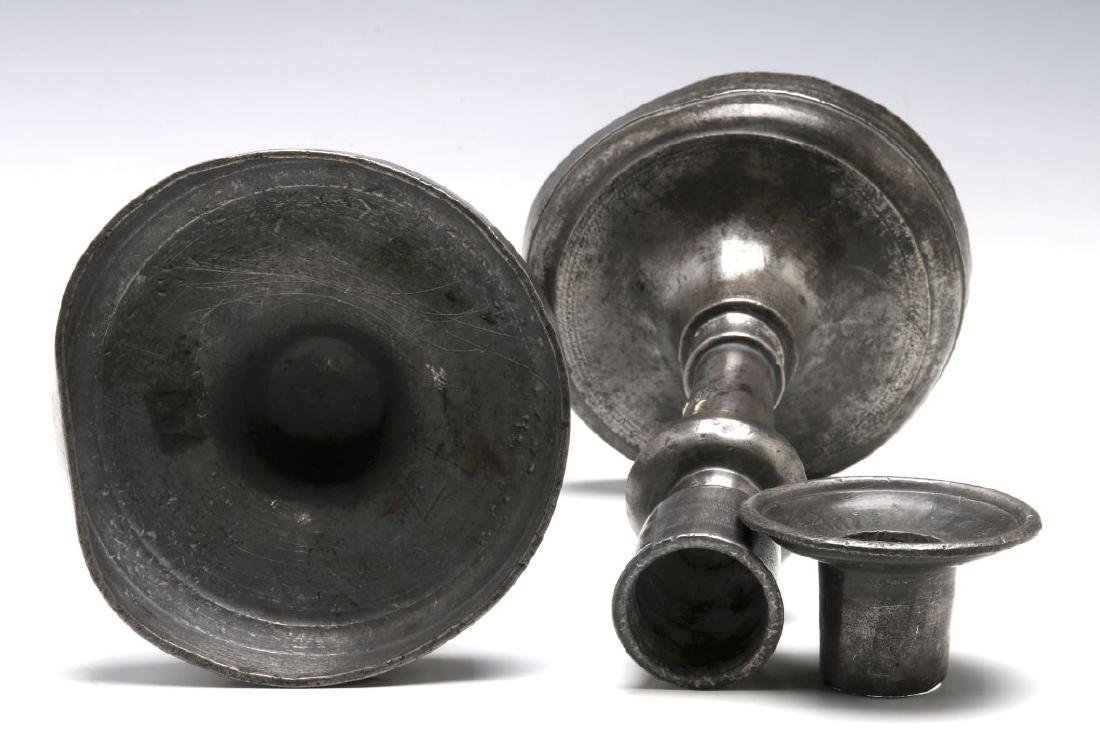18TH C. . PEWTER CANDLE STICKS GROUPED WITH A TEA CADDY - 4