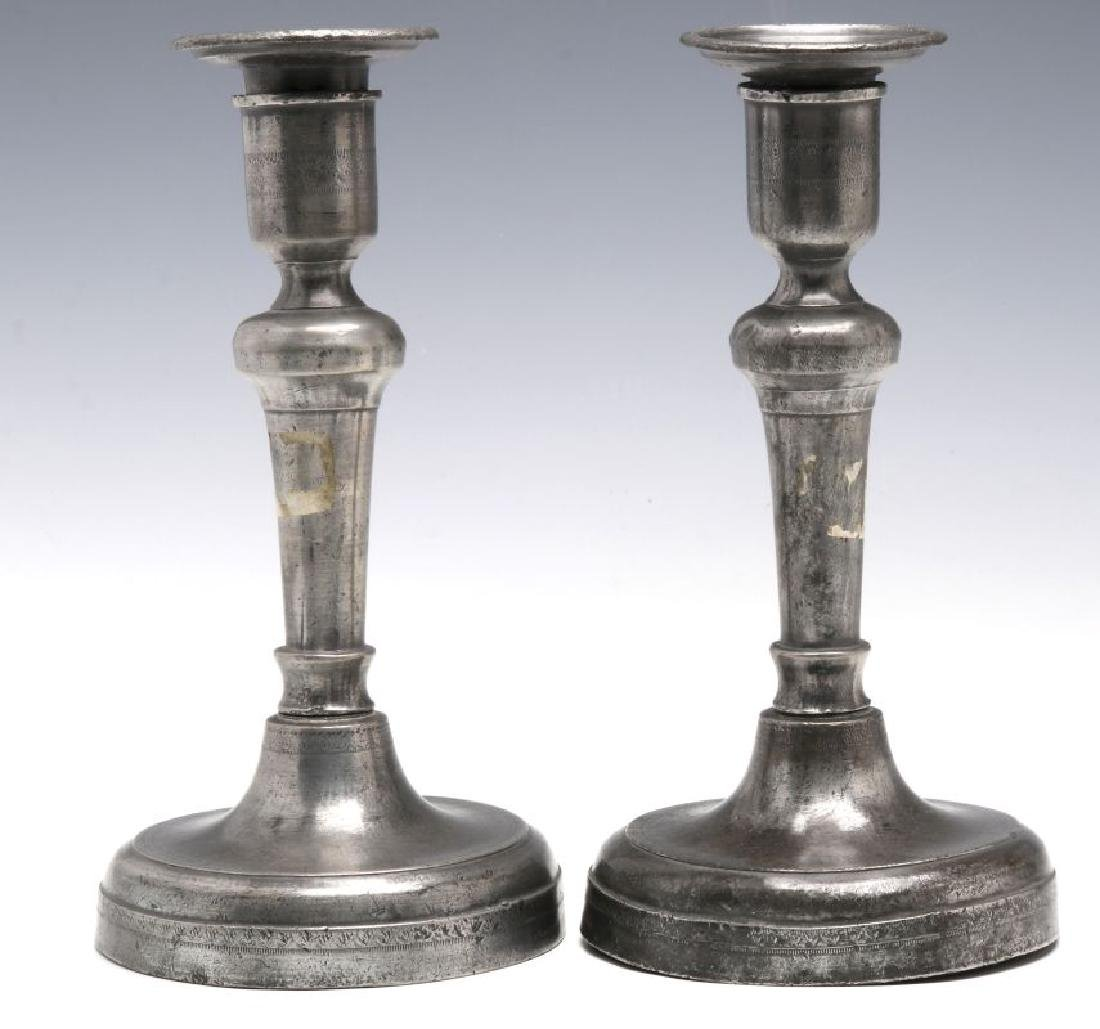 18TH C. . PEWTER CANDLE STICKS GROUPED WITH A TEA CADDY - 5