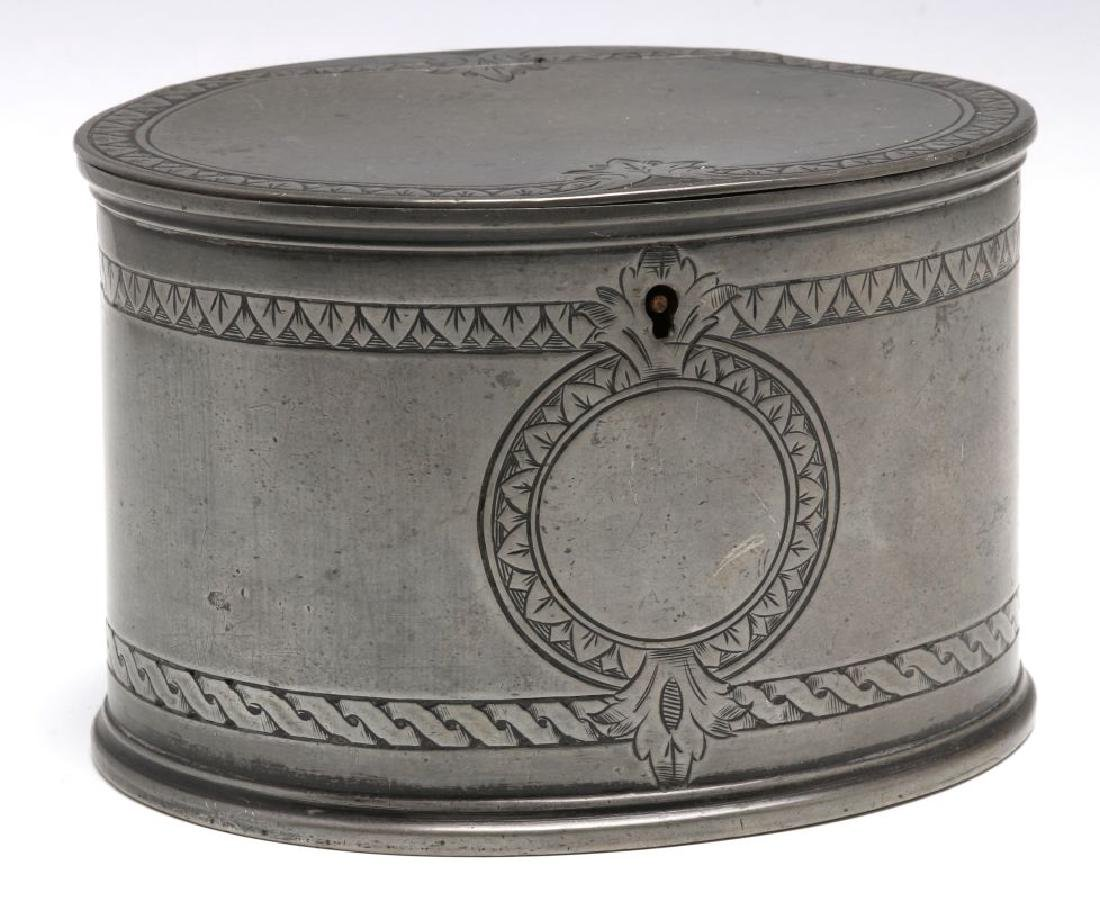 18TH C. . PEWTER CANDLE STICKS GROUPED WITH A TEA CADDY - 6