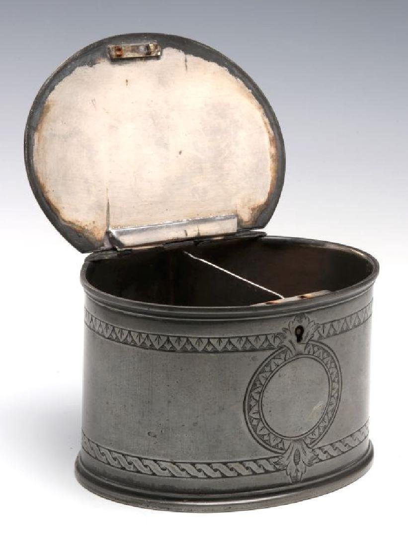 18TH C. . PEWTER CANDLE STICKS GROUPED WITH A TEA CADDY - 7