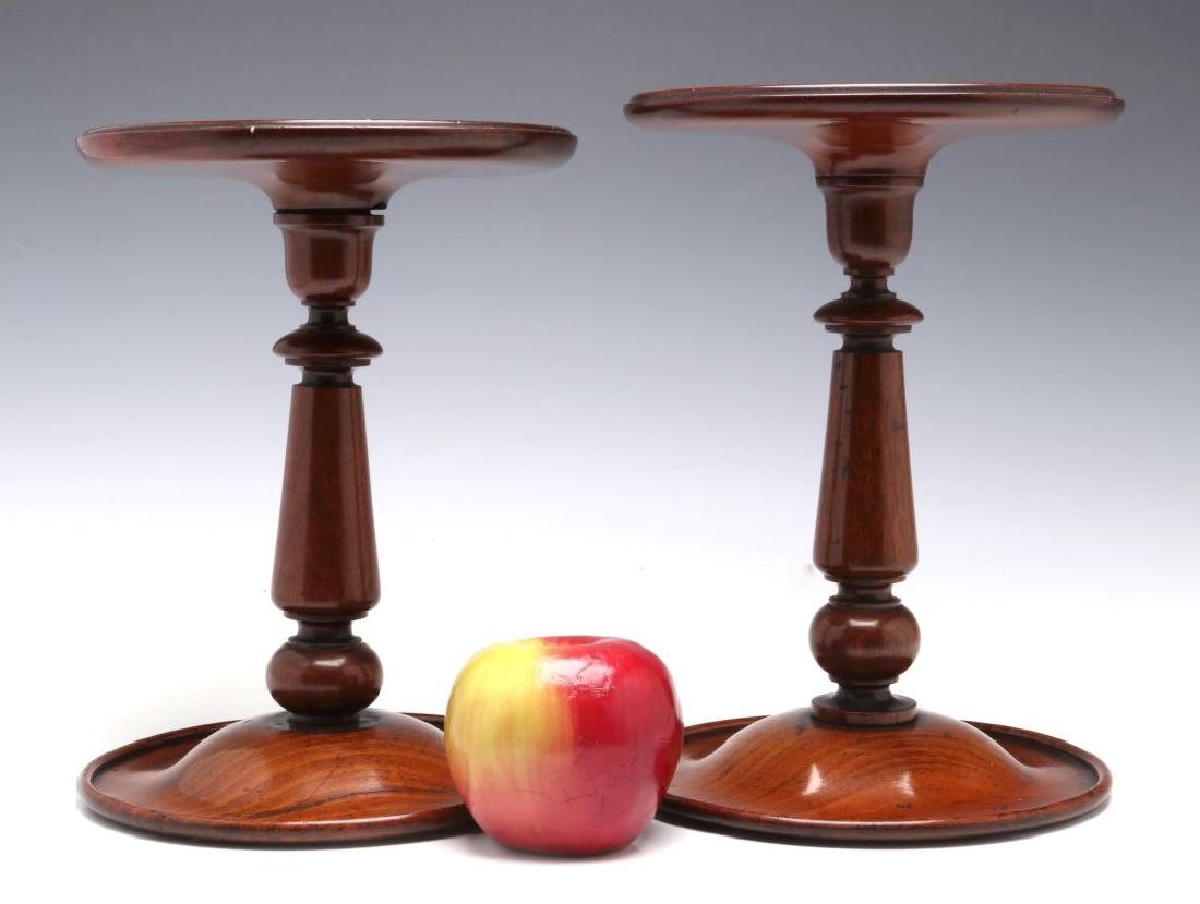 A NEAR PAIR GEORGIAN MAHOGANY TABLE-TOP STANDS - 2
