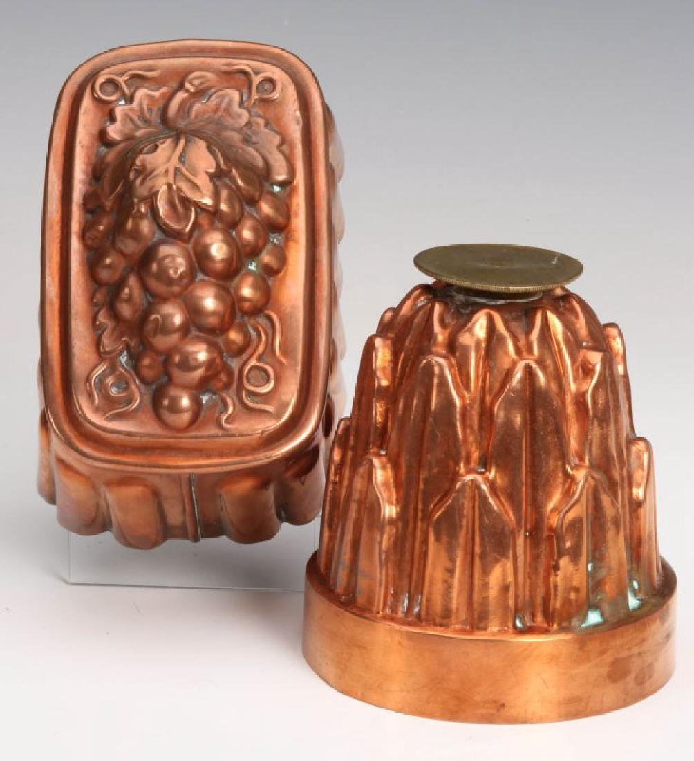 TWO ANTIQUE COPPER FOOD MOLDS