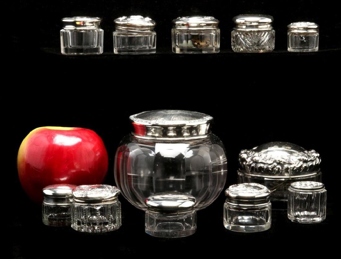 TWELVE STERLING SILVER TOPPED DRESSER JARS - 2