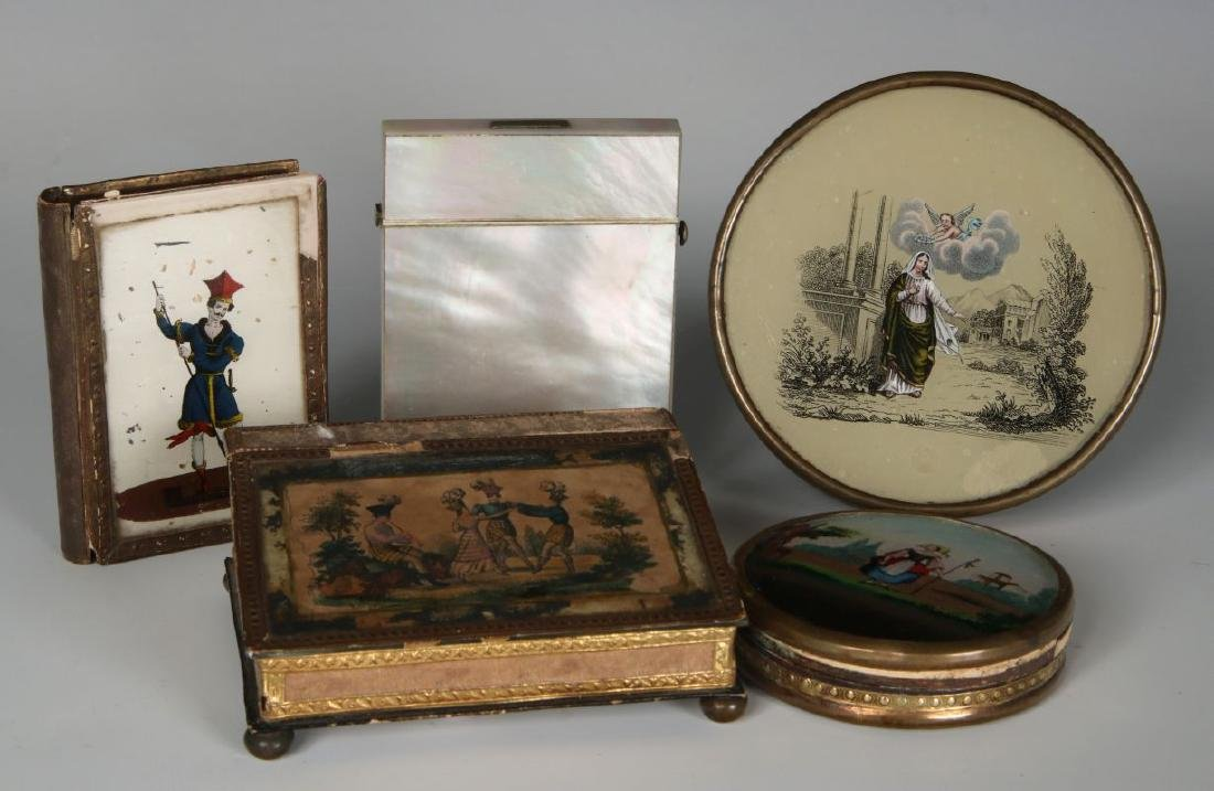 PEARL CALLING CARD CASE AND FRENCH DRAGEES BOXES