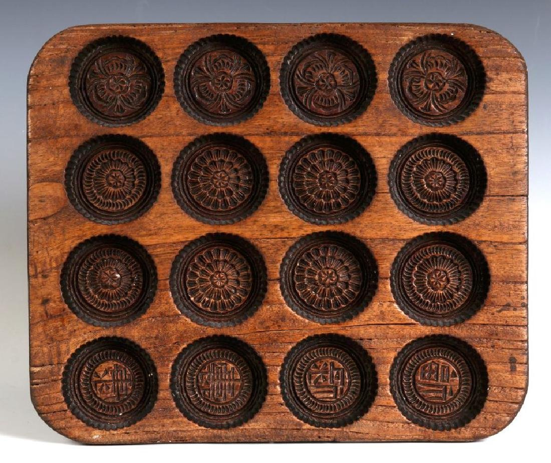 AN ANTIQUE WOODEN SPRINGERLE COOKIE MOLD