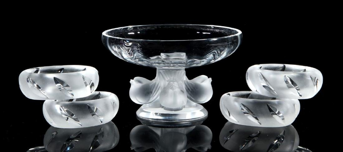 FIVE LALIQUE CRYSTAL DISHES