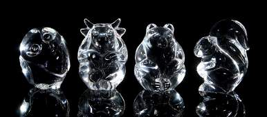 FOUR STEUBEN CRYSTAL FIGURAL HAND COOLERS