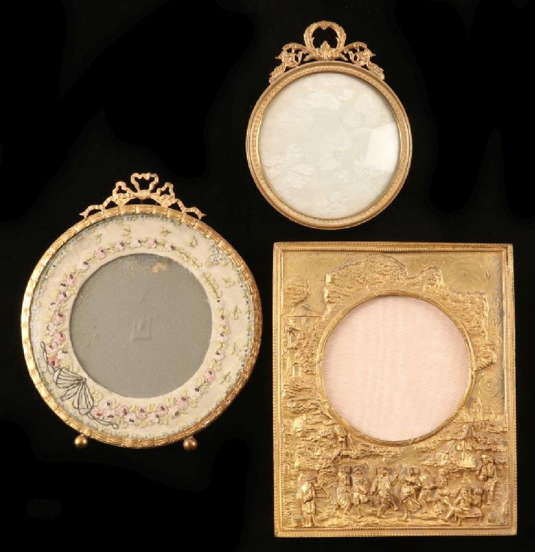 THREE FINE ANTIQUE FRENCH ORMOLU PICTURE FRAMES