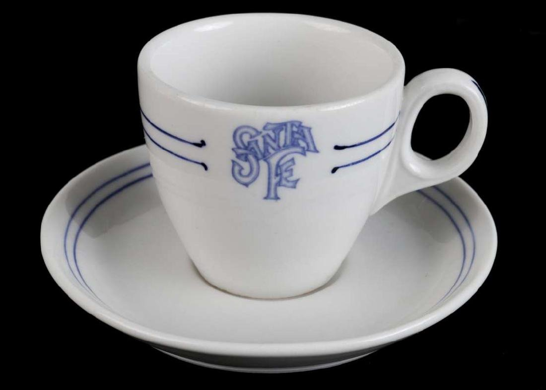 AT&SF SANTA FE BLEEDING BLUE DEMITASSE CUP, SAUCER