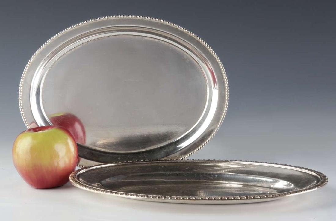 TWO AT&SF SANTA FE RR SILVER SERVING PLATTERS - 2