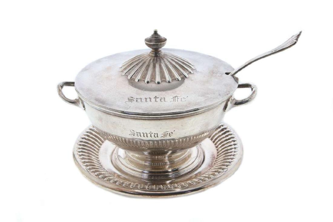 AT&SF RR SILVER TUREEN, COVER, LADLE, UNDERPLATE