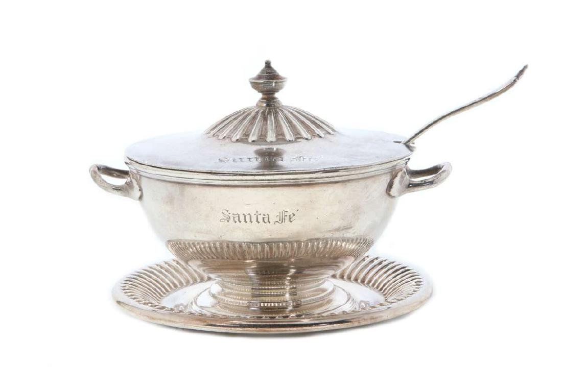 AT&SF RR SILVER TUREEN, COVER, LADLE, UNDERPLATE - 2