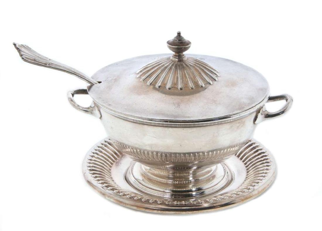 AT&SF RR SILVER TUREEN, COVER, LADLE, UNDERPLATE - 5