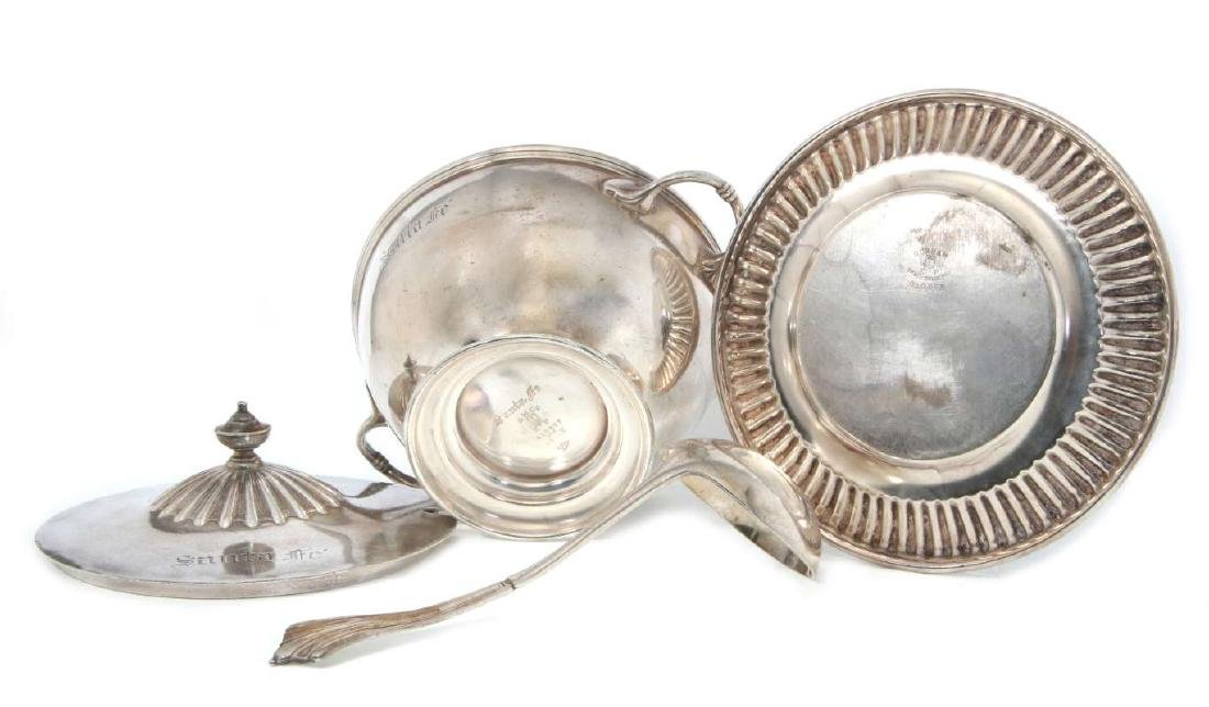 AT&SF RR SILVER TUREEN, COVER, LADLE, UNDERPLATE - 9