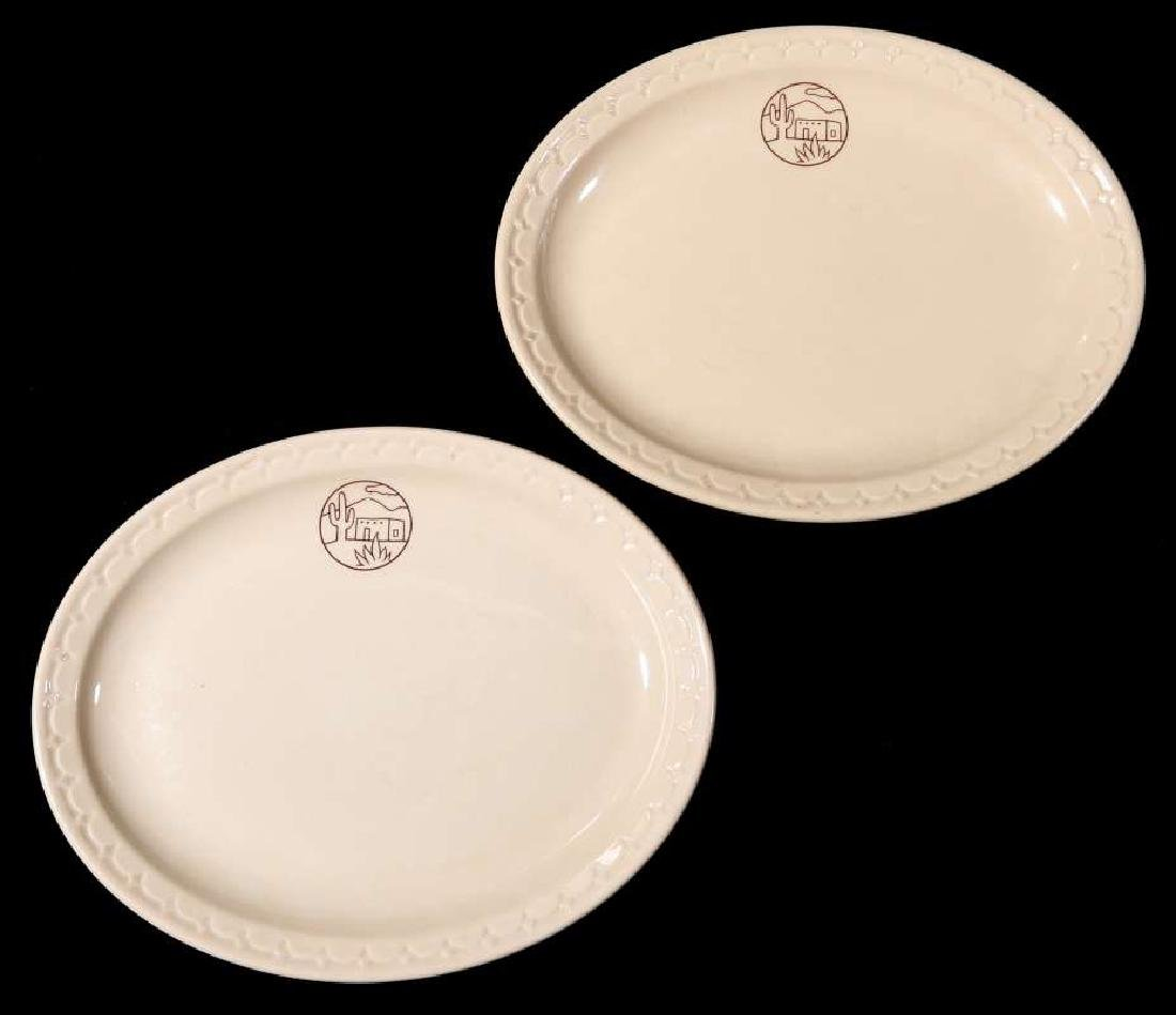 TWO AT&SF SANTA FE RR ADOBE OVAL PLATTERS