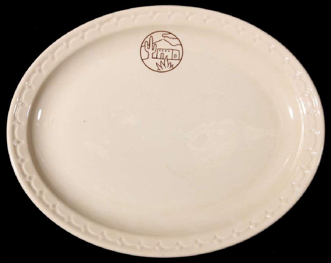 TWO AT&SF SANTA FE RR ADOBE OVAL PLATTERS - 2