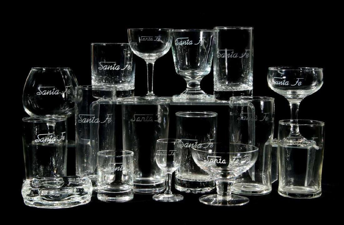 SIXTEEN PCS SANTA FE FROSTED LOGO GLASSWARE