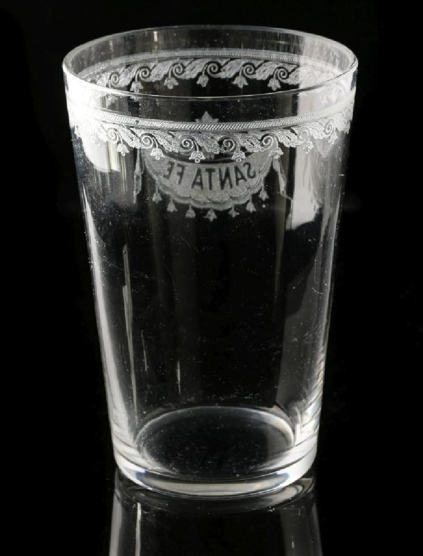 A SCARCE SANTA FE RR ETCHED DRAPE GLASS TUMBLER - 5