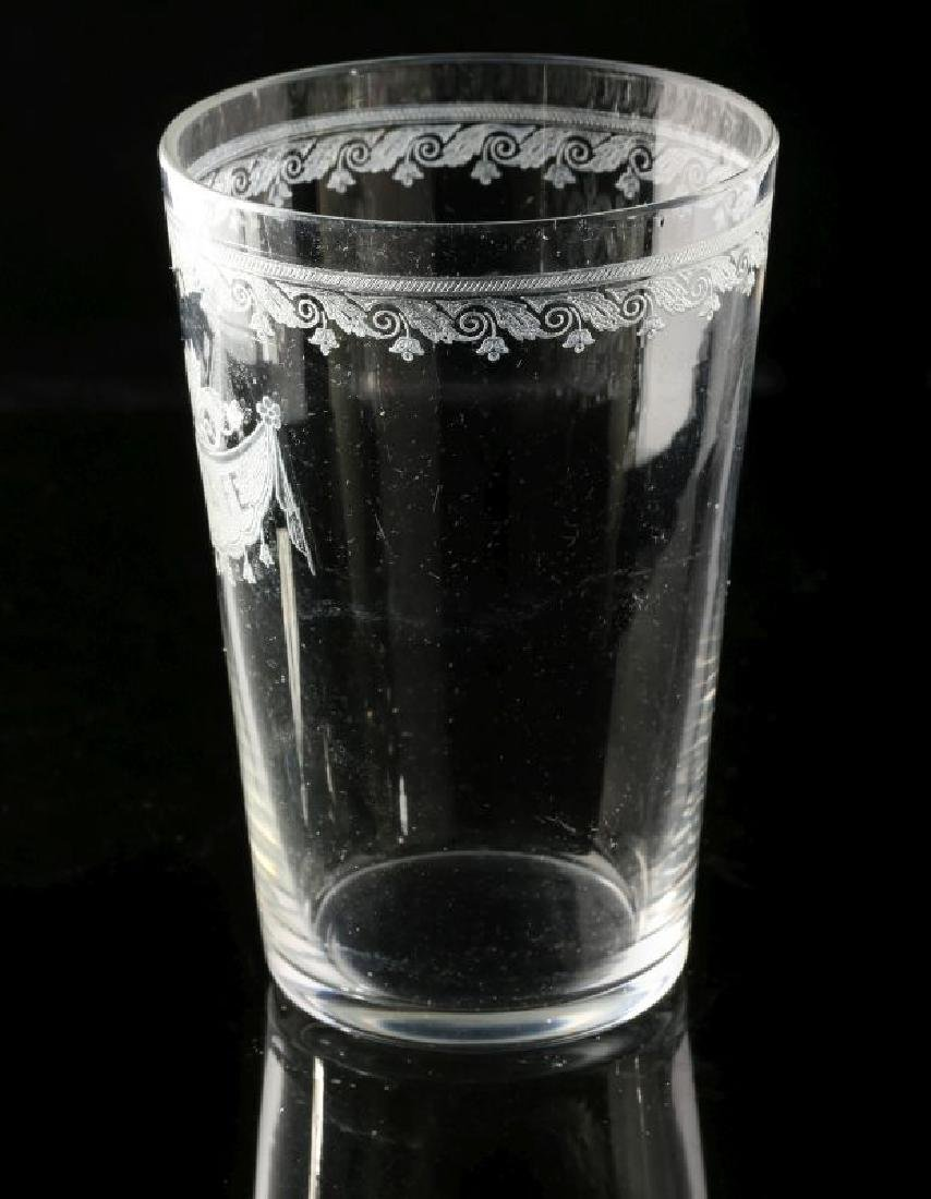 A SCARCE SANTA FE RR ETCHED DRAPE GLASS TUMBLER - 6
