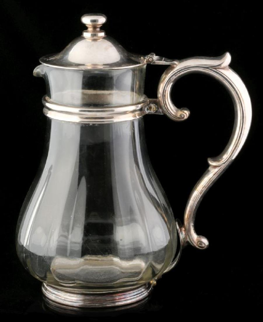 AT&SF SANTA FE RR SILVER MOUNTED GLASS PITCHER