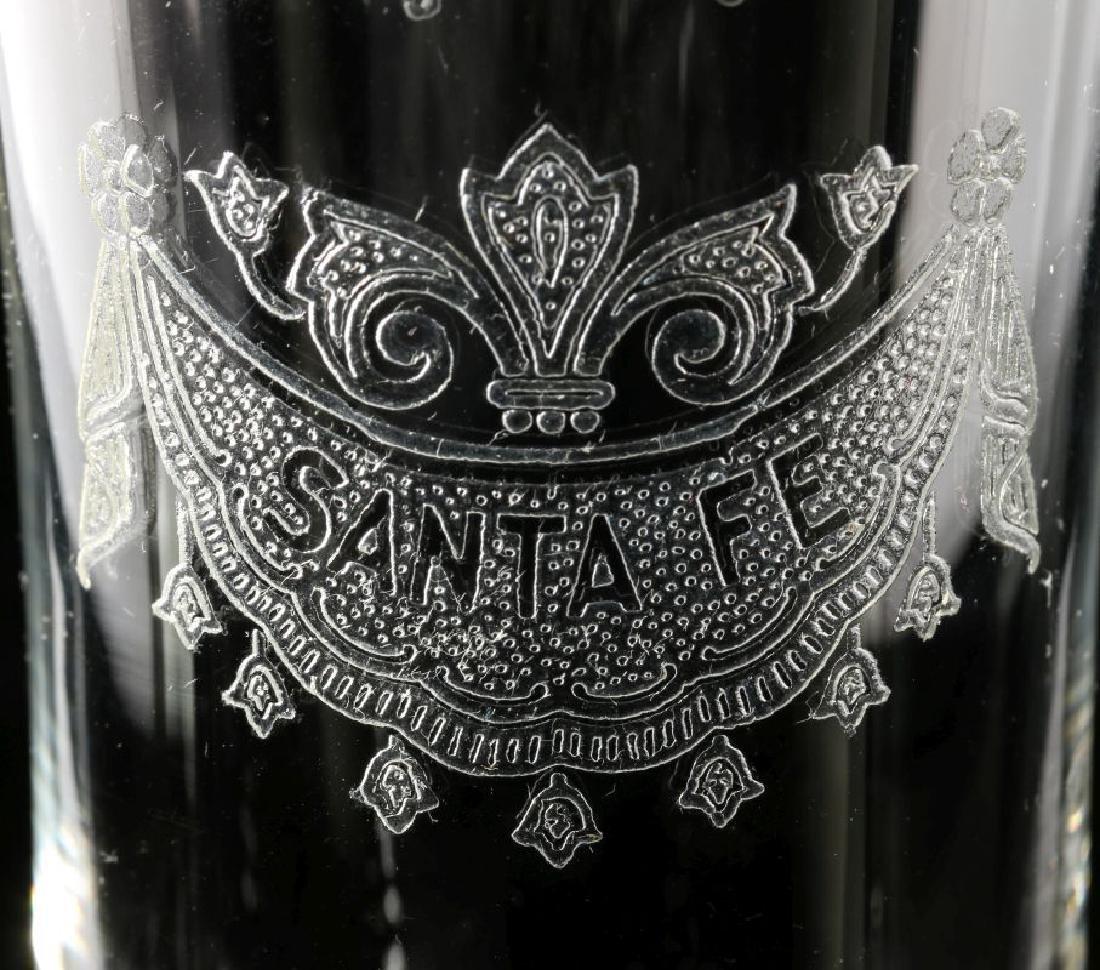 SANTA FE RR DRAPE LOGO PARFAIT GLASS SIGNED HEISEY - 2