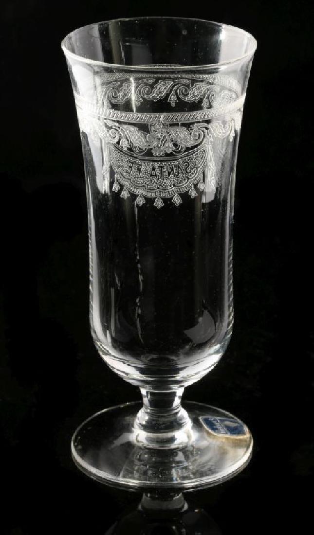 SANTA FE RR DRAPE LOGO PARFAIT GLASS SIGNED HEISEY - 7