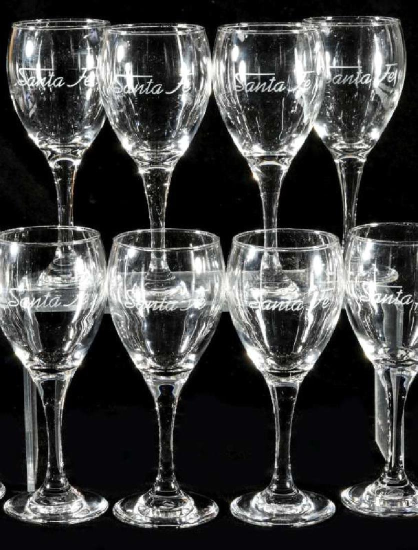TWELVE AT&SF SANTA FE ETCHED LOGO WINE STEMS - 3