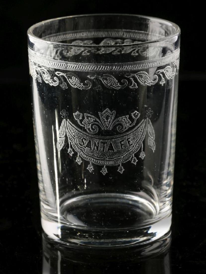 AT&SF SANTA FE RR ETCHED DRAPE SHOT GLASS