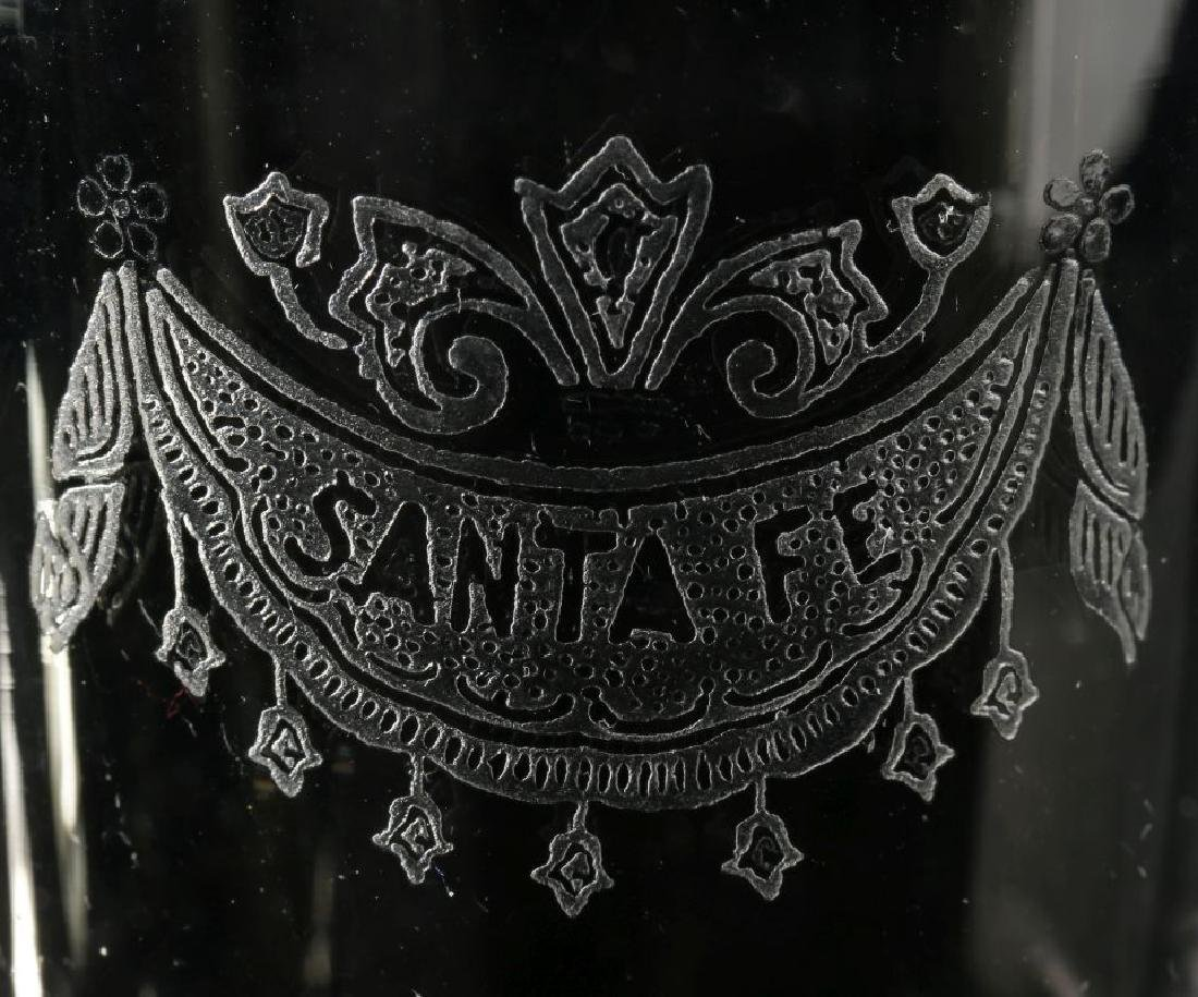 AT&SF SANTA FE RR ETCHED DRAPE SHOT GLASS - 2