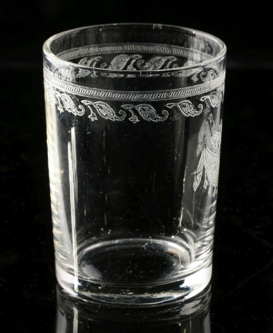 AT&SF SANTA FE RR ETCHED DRAPE SHOT GLASS - 6
