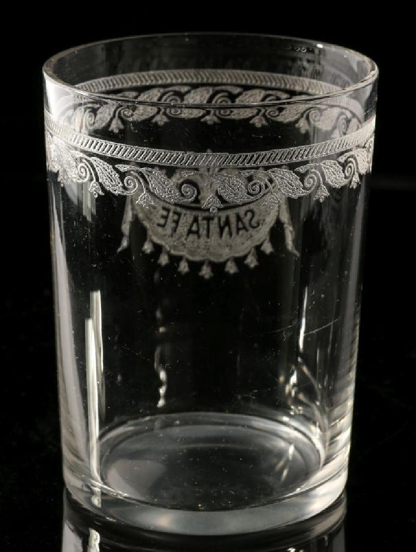 AT&SF SANTA FE RR ETCHED DRAPE GLASS TUMBLER - 5