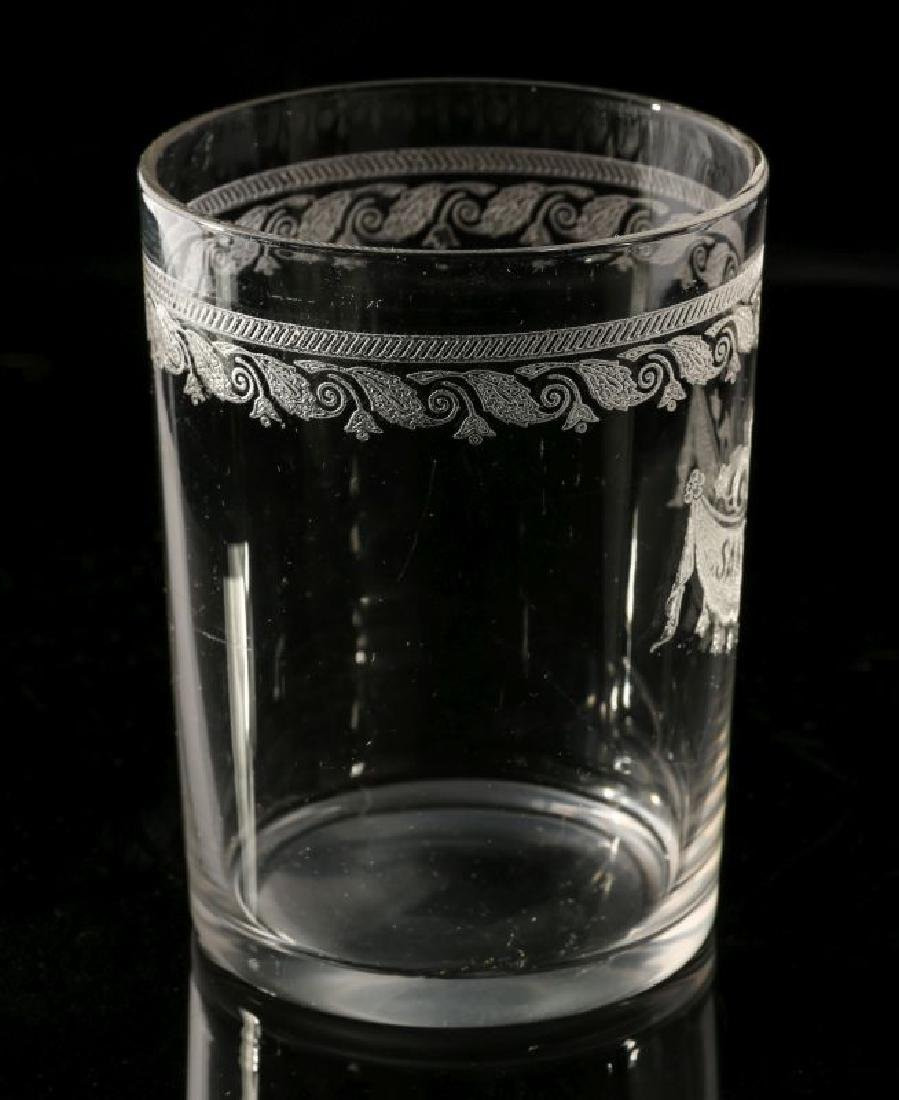 AT&SF SANTA FE RR ETCHED DRAPE GLASS TUMBLER - 6