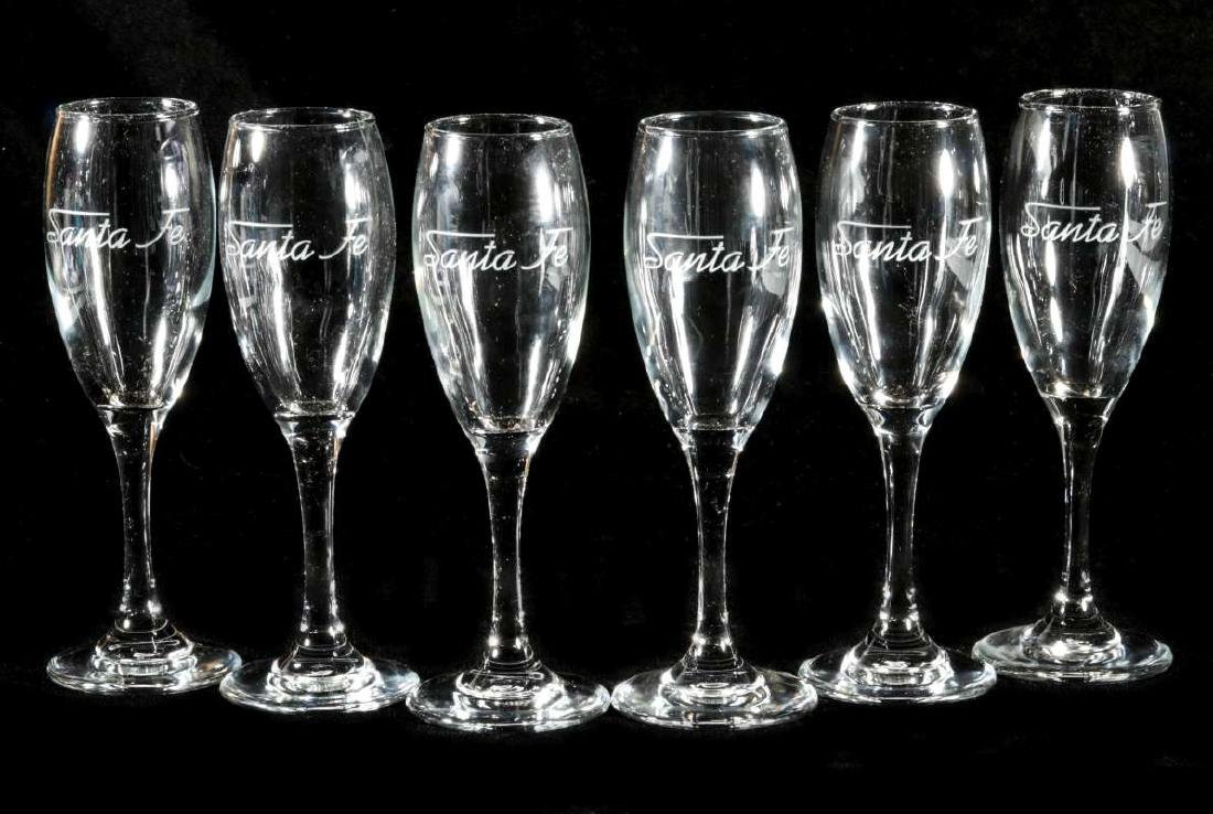 SIX AT&SF SANTA FE RR ETCHED LOGO CHAMPAGNE FLUTES
