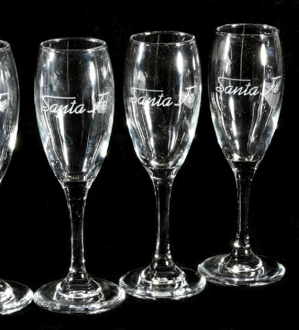 SIX AT&SF SANTA FE RR ETCHED LOGO CHAMPAGNE FLUTES - 3