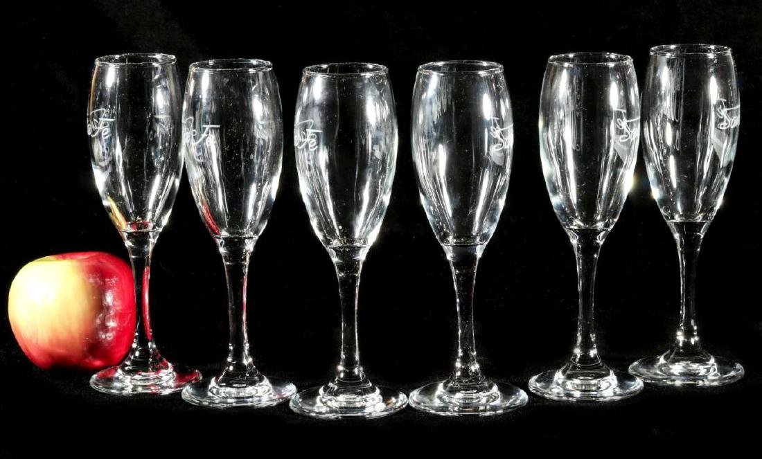 SIX AT&SF SANTA FE RR ETCHED LOGO CHAMPAGNE FLUTES - 4