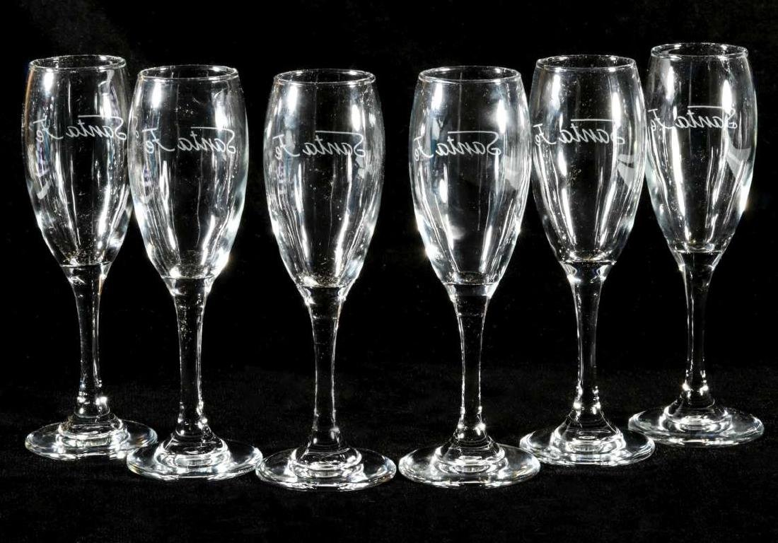 SIX AT&SF SANTA FE RR ETCHED LOGO CHAMPAGNE FLUTES - 5
