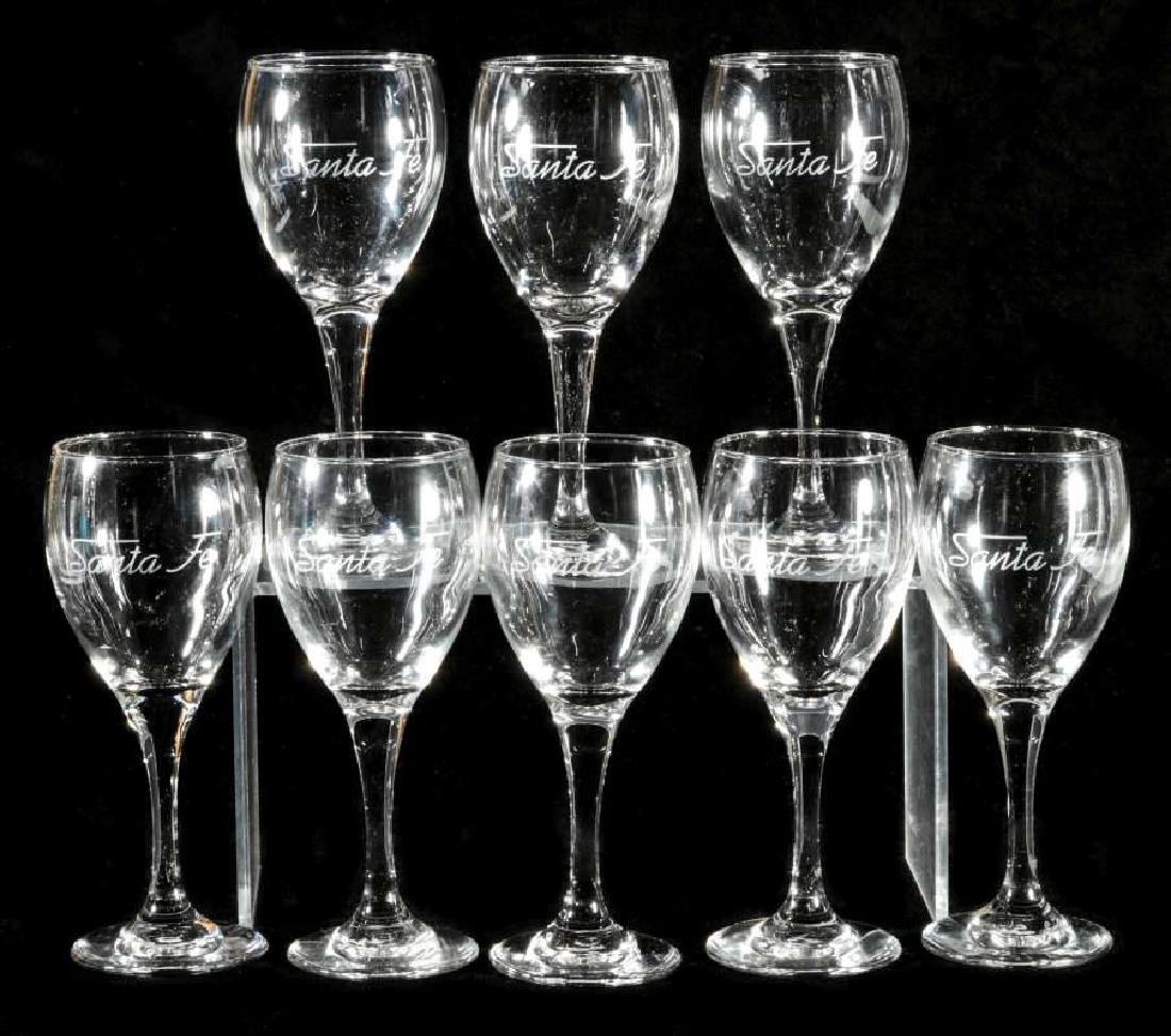 EIGHT AT&SF SANTA FE ETCHED LOGO WINE STEMS