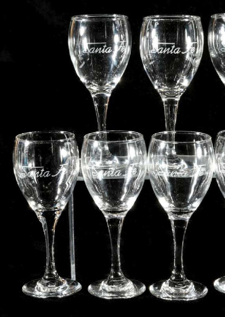EIGHT AT&SF SANTA FE ETCHED LOGO WINE STEMS - 2