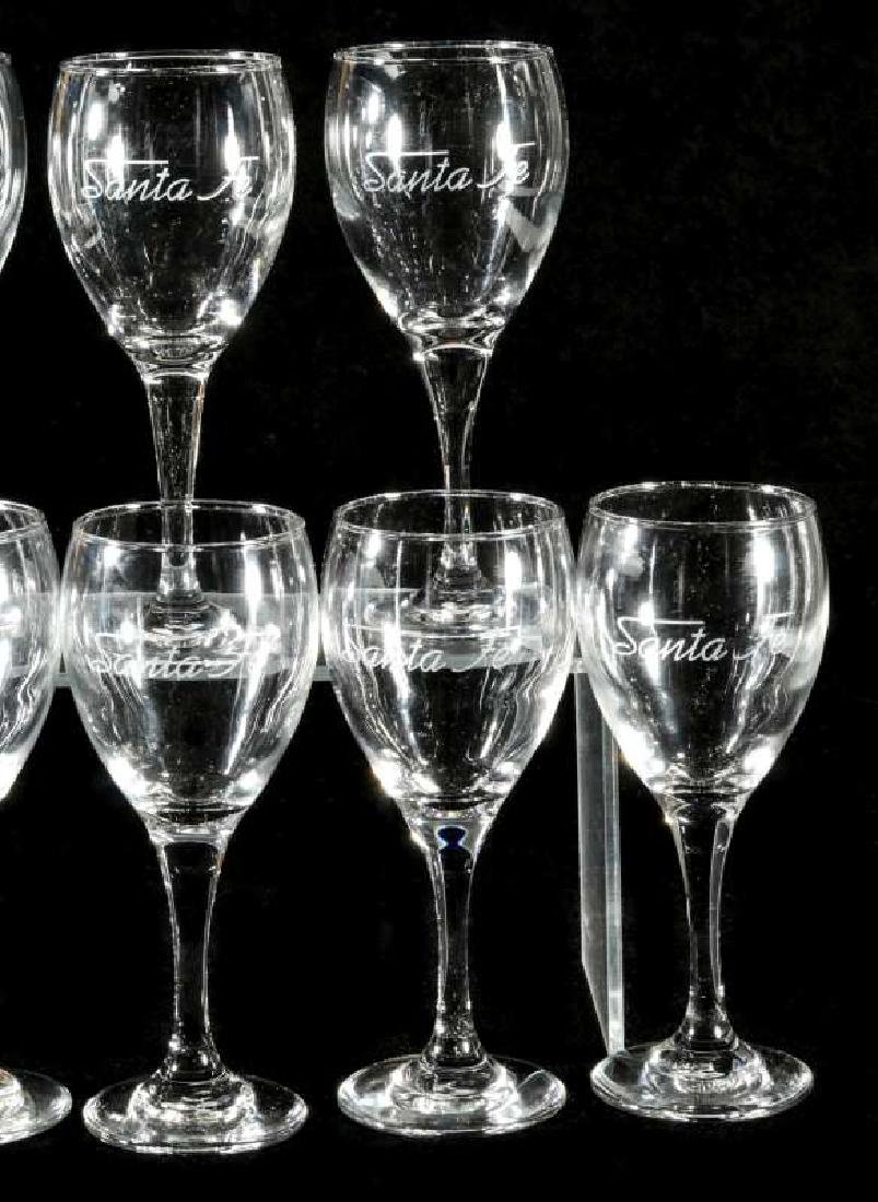 EIGHT AT&SF SANTA FE ETCHED LOGO WINE STEMS - 3