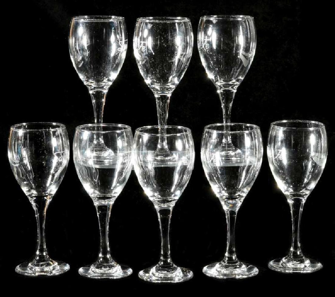 EIGHT AT&SF SANTA FE ETCHED LOGO WINE STEMS - 6
