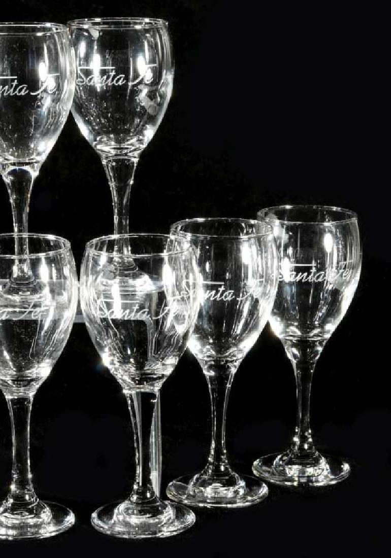 TWELVE AT&SF SANTA FE ETCHED LOGO WINE STEMS - 4
