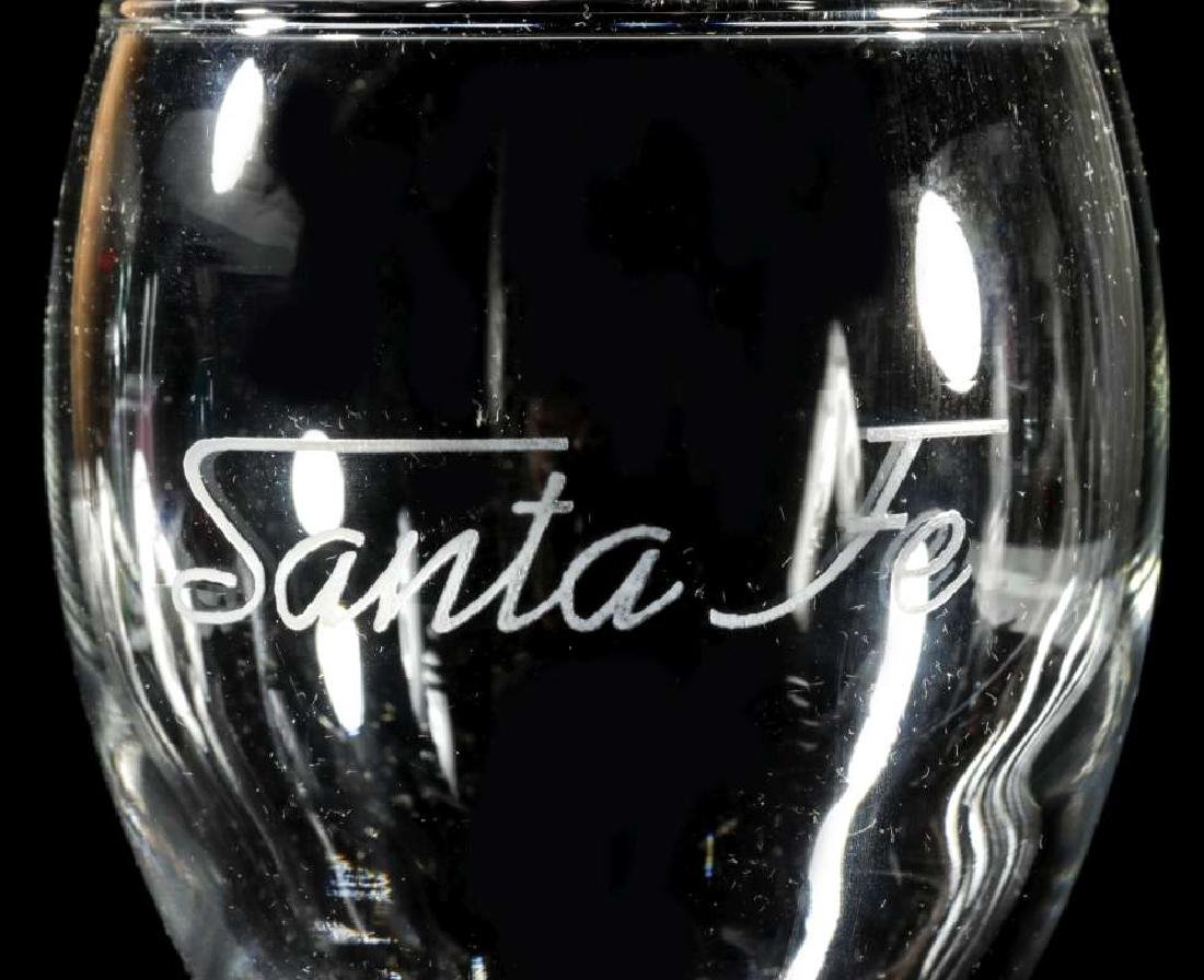 TWELVE AT&SF SANTA FE ETCHED LOGO WINE STEMS - 9
