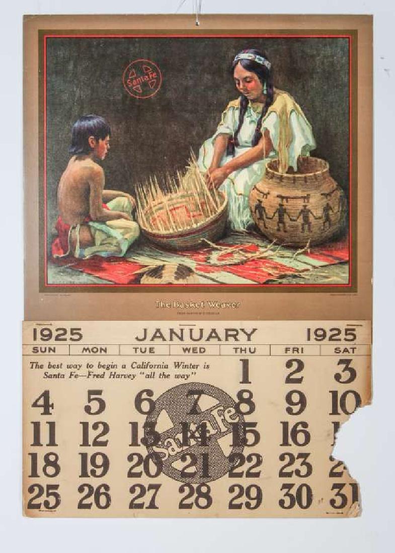 1925 SANTA FE RR E.I. COUSE CALENDAR WITH FULL PAD