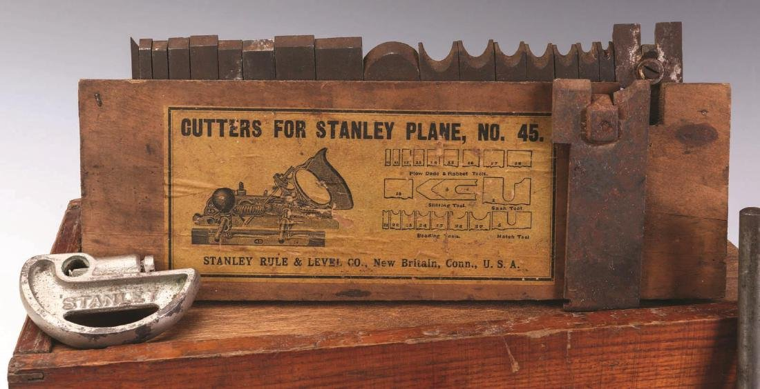 STANLEY PLANE No. 45 WITH ORIGINAL BOX & CUTTERS - 2